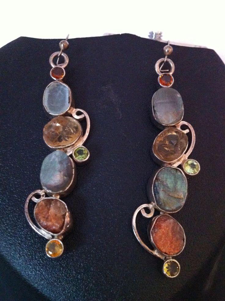 Multi colored earrings set in sterling silver
