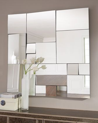 """""""Jigsaw"""" Mirror at Horchow = neat wall & ceiling idea (a wall of wood & mirror pieces or wood & wood pieces)"""