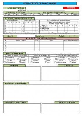 Ficha de registro para Alumnos con necesidades específicas de apoyo educativo NEE editable