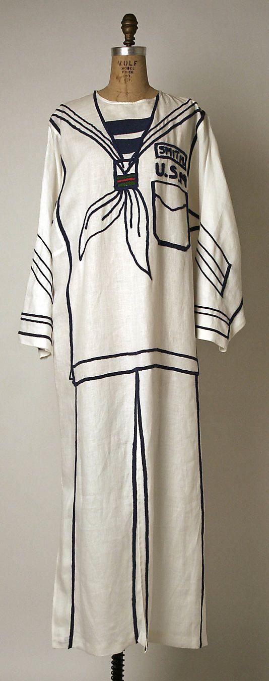 """White Linen Trompe L'Oeil """"Sailor Suit"""" Dress by Jean-Charles De Castelbajac, French, 1949 via MetMuseum.Org"""