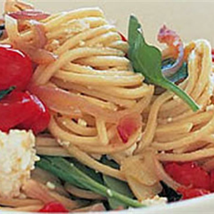 Try this Spaghetti with Cherry Tomatoes, Ricotta, Spinach and Pecorino recipe by Chef Bill Granger. This recipe is from the show bills food.