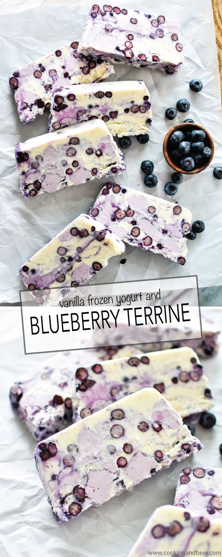 Vanilla Frozen Yogurt and Blueberry Terrine is the dessert recipe you NEED to serve this summer!   www.cookingandbeer.com