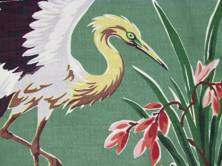 vintage tropical bark cloth with crane