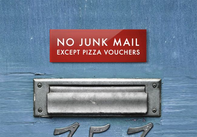Funny Mailbox Sign. No Junk Mail Except Pizza Vouchers by SignFail on Etsy https://www.etsy.com/listing/95939654/funny-mailbox-sign-no-junk-mail-except