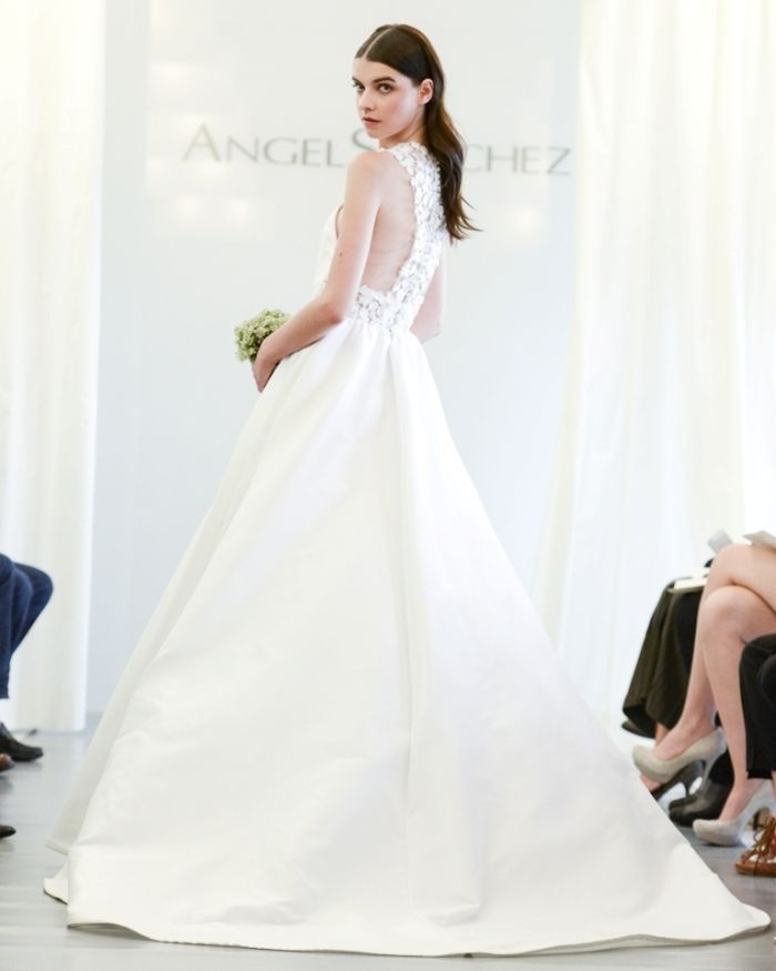 Angel Sanchez Wedding Dresses for 2015 Couture wedding dress with a lace cut out back, with ball gown skirt