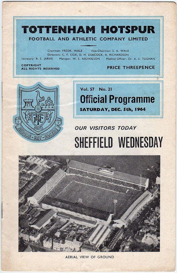 Vintage Football (soccer) Programme - Tottenham Hotspur v Sheffield Wednesday, 1964/65 season #football #soccer #tottenham