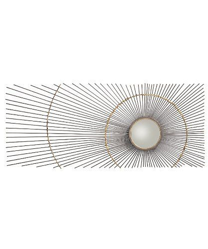"Arteriors Uma Iron/Brass Mirror by Arteriors. $515.00. Diameter:36"" D:5.5"". Rays of frozen light radiate from a central sunburst in the Uma Mirror, a wall art piece based on a traditional celestial motif which converts the natural lighting in your room into an element of the artistic composition. Placed off center, the small mirrored circle is framed in iron, which breaks into slender rods joined by two antiqued brass halos. The panache of this transitional wal..."