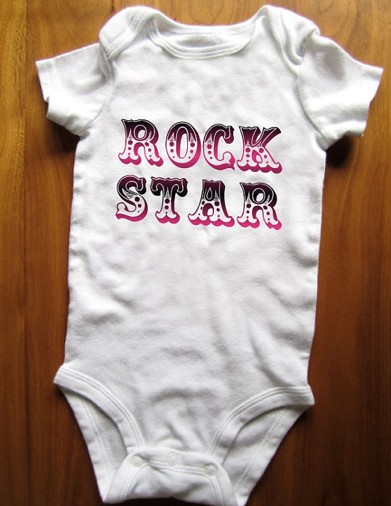 cute rock star bodysuit onesie rock and roll girl by moyogifts baby shower idea 39 s. Black Bedroom Furniture Sets. Home Design Ideas