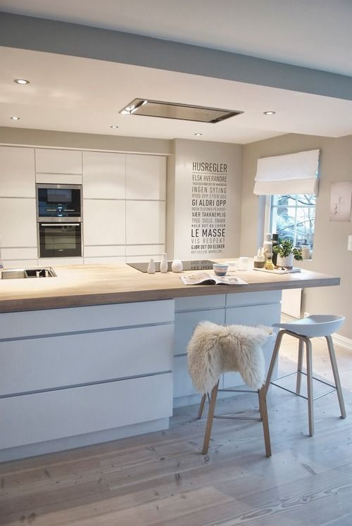 Scandinavian white modern kitchen- light wood pine butcherblock counter . Pine stools.