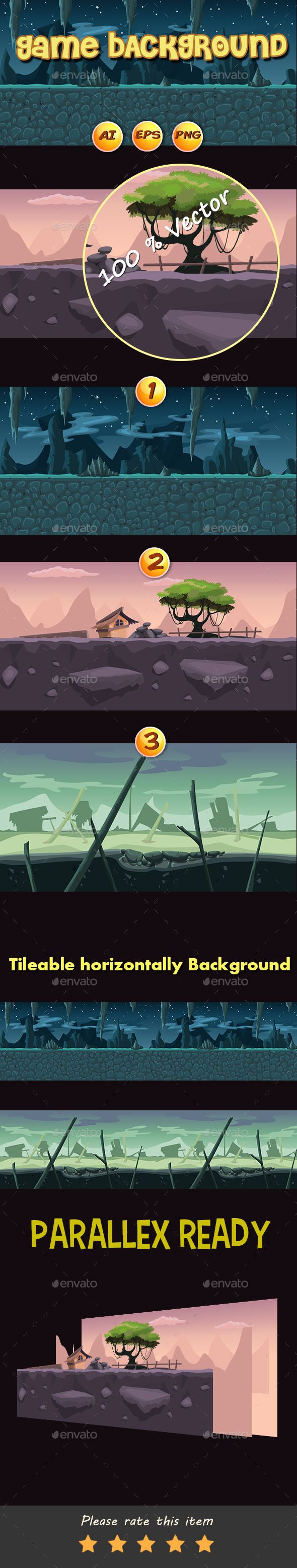 Parallax  Cartoon Game Background - Backgrounds Game Assets