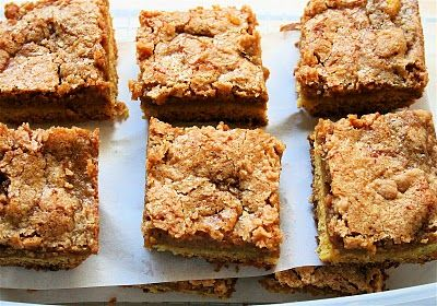 William Sonoma Pumpkin Bars- I make these every holiday, and everyone in the neighborhood goes crazy for them. Can also use apple butter instead of pumpkin butter