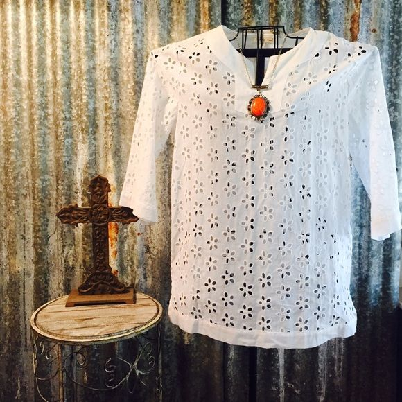 saleGorgeous White Eyelet Top NWT Size Small Gorgeous white eyelet top NWT 3/4 length sleeves size small. Top is super cute and would look great with a denim jacket. Necklace is available in another listing. Denim jacket not for sale. Thanks for looking. ❤️❤️❤️ Indigo Soul Tops