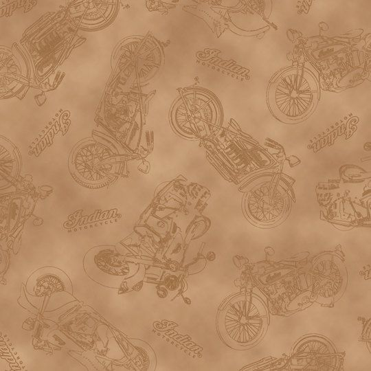 Classic Motorcycle Fabric - Classic Indian Motorcycle by Quilting Treasures 23592 A - Light Brown - 1/2 yard