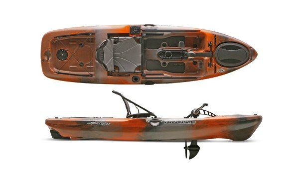 """The Native Watercraft """"Slayer Propel 10"""" fishing kayak is the newest, smallest, and lightest member of the Slayer Propel family. The Slayer Propel 10 has many of the same features as the Slayer Propel 13, but its lighter and more maneuverable. It features a wide open deck and a fast stable hull as well as an extra large rudder. The Propel system is the only pedal drive that can be pedaled in reverse, an essential capability when battling the catch of the day. The seat can..."""