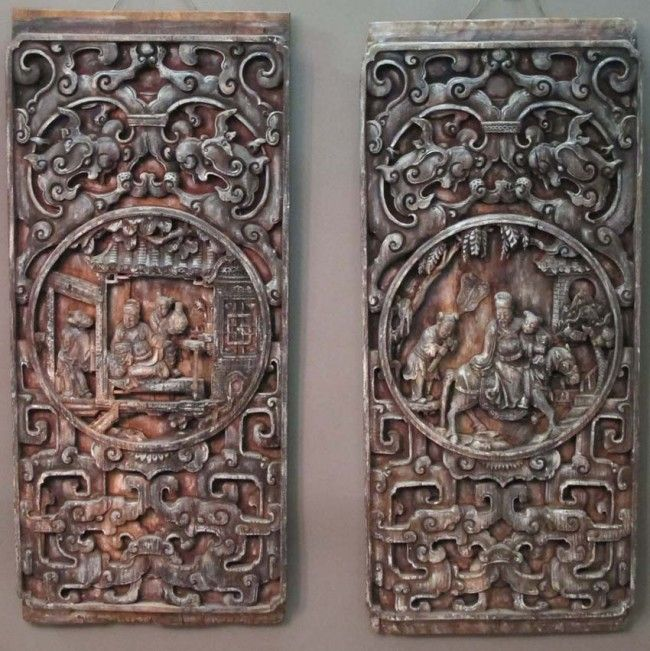 Chinese carved wooden panels pair of