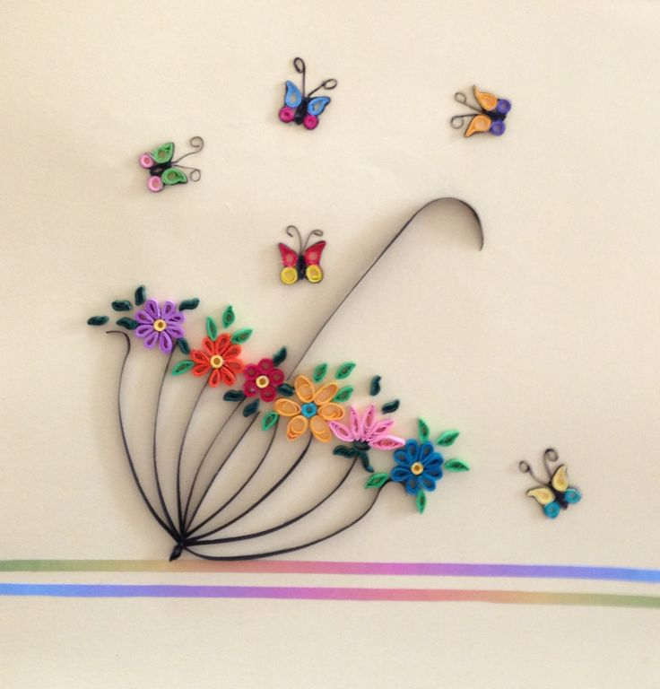 Paper, quilling, butterfly, umbrella, spring