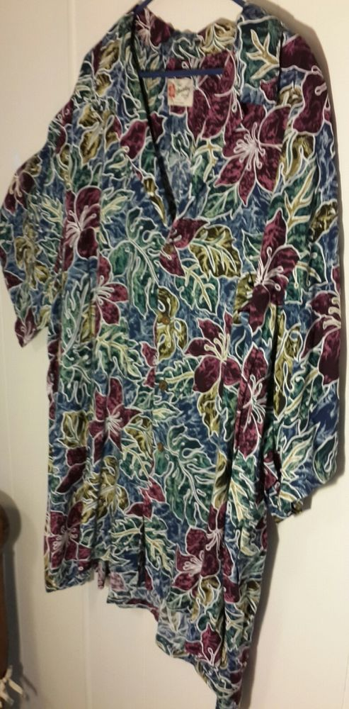 Hilo Hattie Hawaiian Shirt Mens 5xl Floral Purple Blue Green Rayon  | eBay