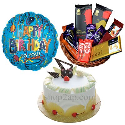 Cakes add life to any type of event with fabulous designer cakes which cannot be left without tasting it, so enjoy celebration with Cakes Online India. Happy Birthday foiled balloon along with cake and chocolates sends your heart felt message to near and dear one if you are away from them. Don't allow the distance to come between your relationship, so send Cakes Online from anywhere through shop2Ap.com which makes them feel happy with your surprise gift.