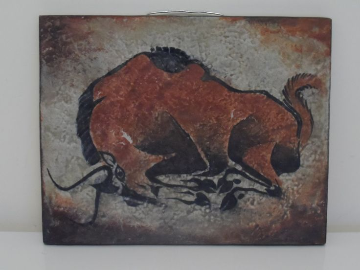 Karlsruhe 'Bull' Cave Painting Tile, Montignac Lascaux. by WoodstockStudio on Etsy