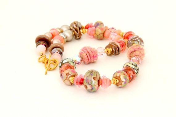 Soft Coral Necklace. Chunky Glass Beads by wildwomanbeads on Etsy