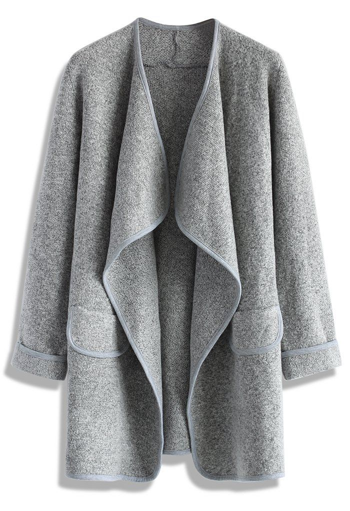 Just Knitted Open Coat in Grey - Tops - Retro, Indie and Unique Fashion