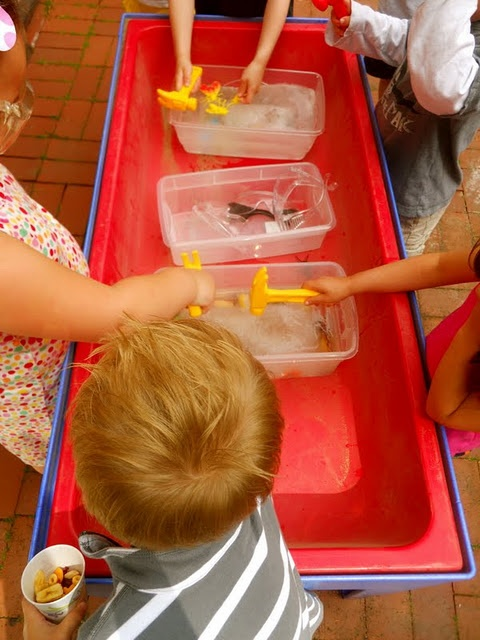 Freeze plastic toys in blocks of ice and let the children find ways of excavating them out.