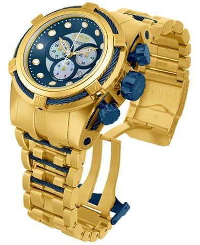 Invicta Swiss Chrono Bolt Zeus Goldtone Bracelet Watch 12742