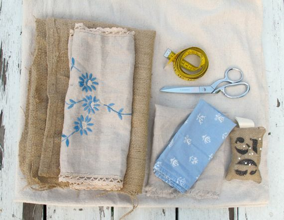 Heirloom Table Runner made from burlap, rustic coffee sacks, and vintage linen pieces.
