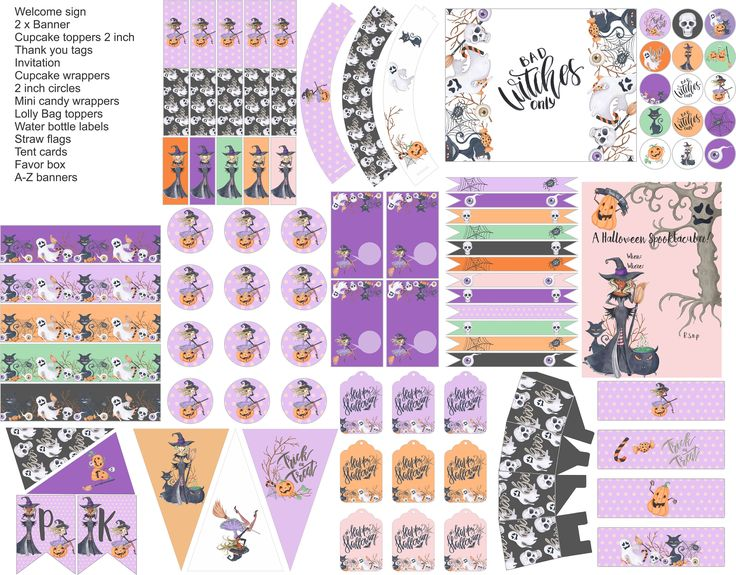 Halloween party printables, halloween printable party kit, everything you need for your Halloween party