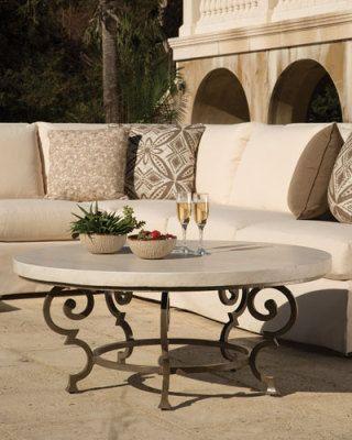 H8G15 Hemingway Outdoor Florentine Round Coffee Table