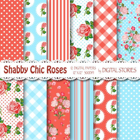 """Shabby Chic Digital Paper: """"SHABBY RED BLUE"""" Floral background with roses for scrapbooking, invites, cards  - Buy 2 Get 1 Free"""