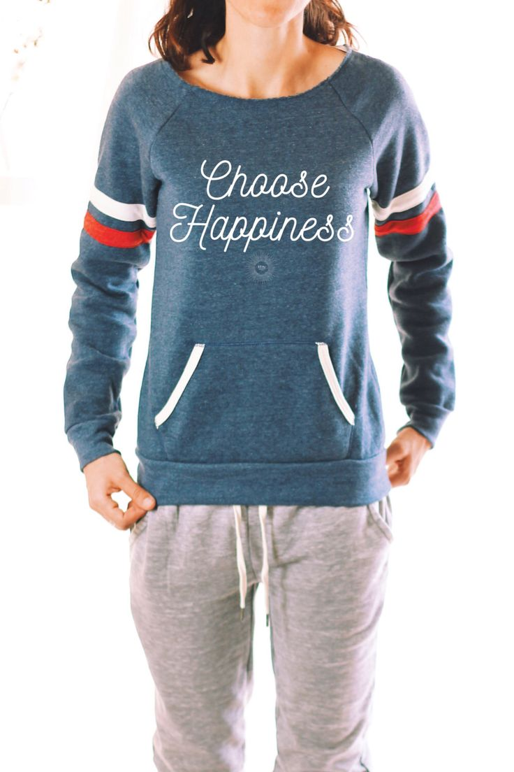 CHOOSE HAPPINESS SWEATER - Eco Friendly - Eco Fleece - Happiness Quote - Graphic Tees For Women - Graphic Tee - Women's Graphic Tee - Happy by ArimaDesigns on Etsy https://www.etsy.com/listing/288174151/choose-happiness-sweater-eco-friendly