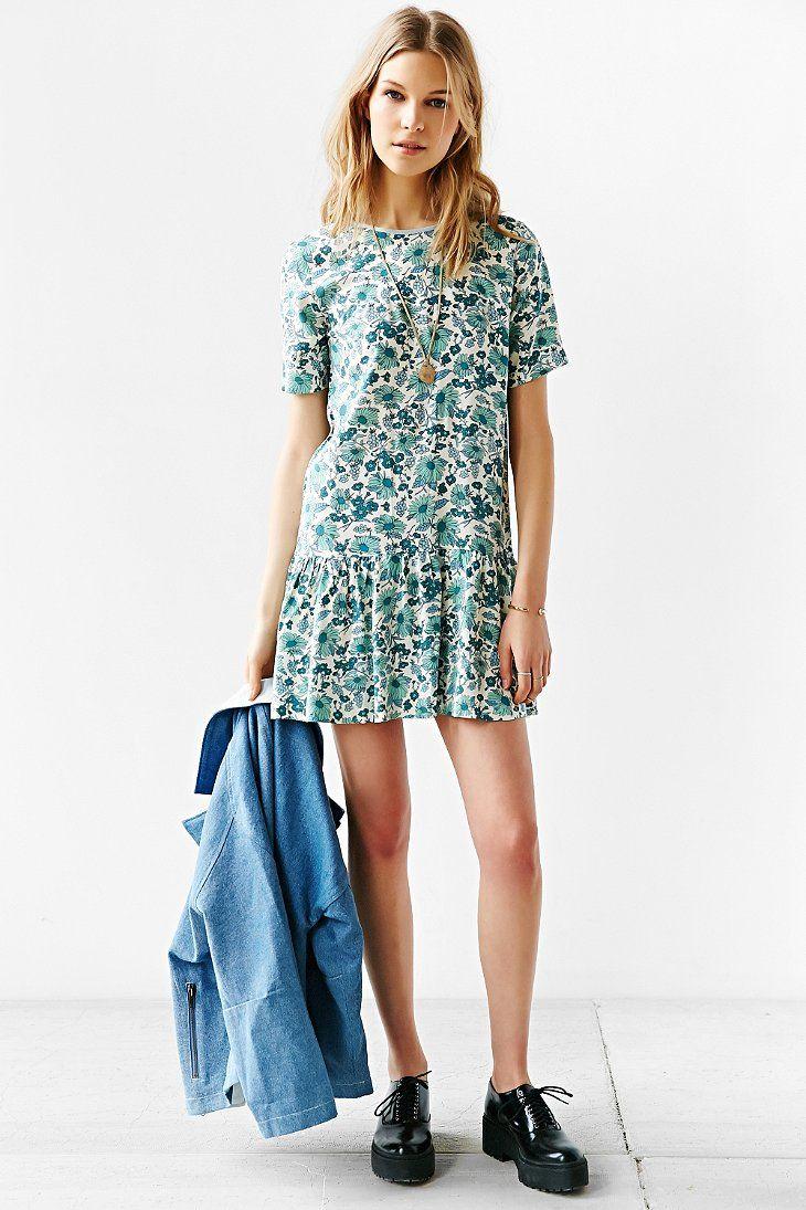 RYDER Alex Floral Drop-Waist Dress - Urban Outfitters
