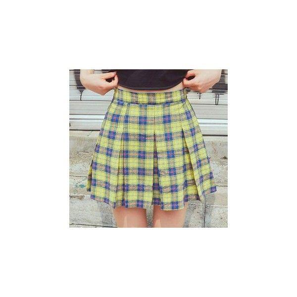 Pleated Plaid Mini Skirt (£31) ❤ liked on Polyvore featuring skirts, mini skirts, women, plaid mini skirt, plaid pleated skirt, cotton mini skirt, short pleated skirt and plaid pleated mini skirt