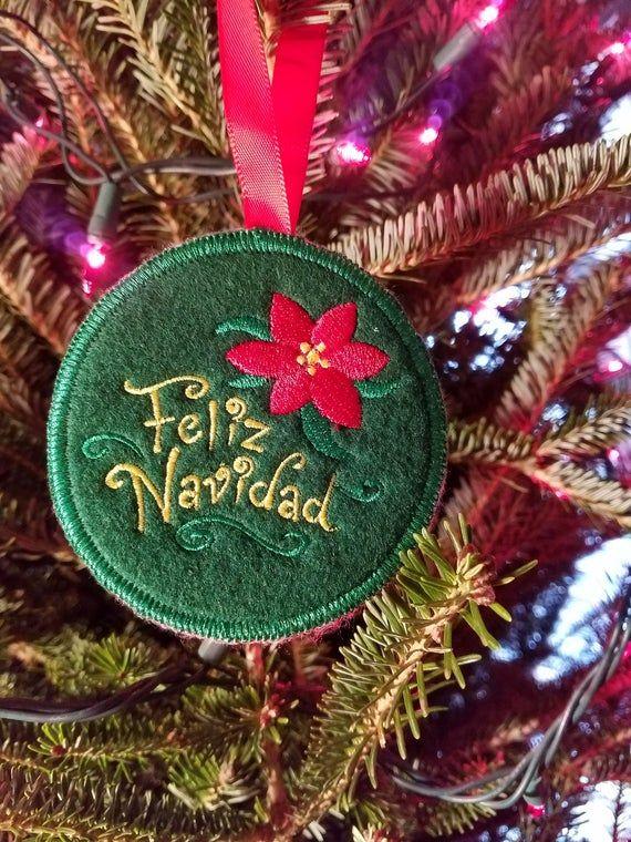 Christmas Ornament Embroidered Feliz Navidad Handmade Etsy White Elephant Gifts Christmas Ornaments Ornament Exchange