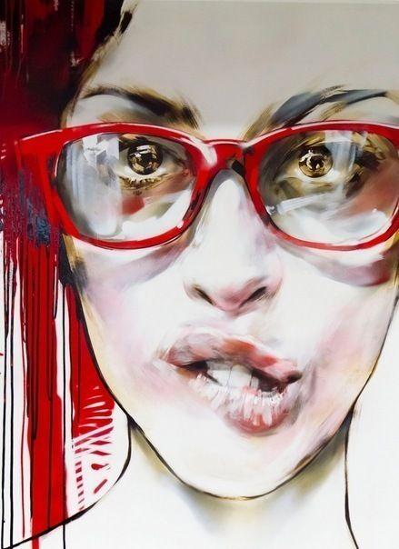 """Girl 3"" - Vasiliy Lastochkin {contemporary female head eyeglasses woman face portrait painting detail}"