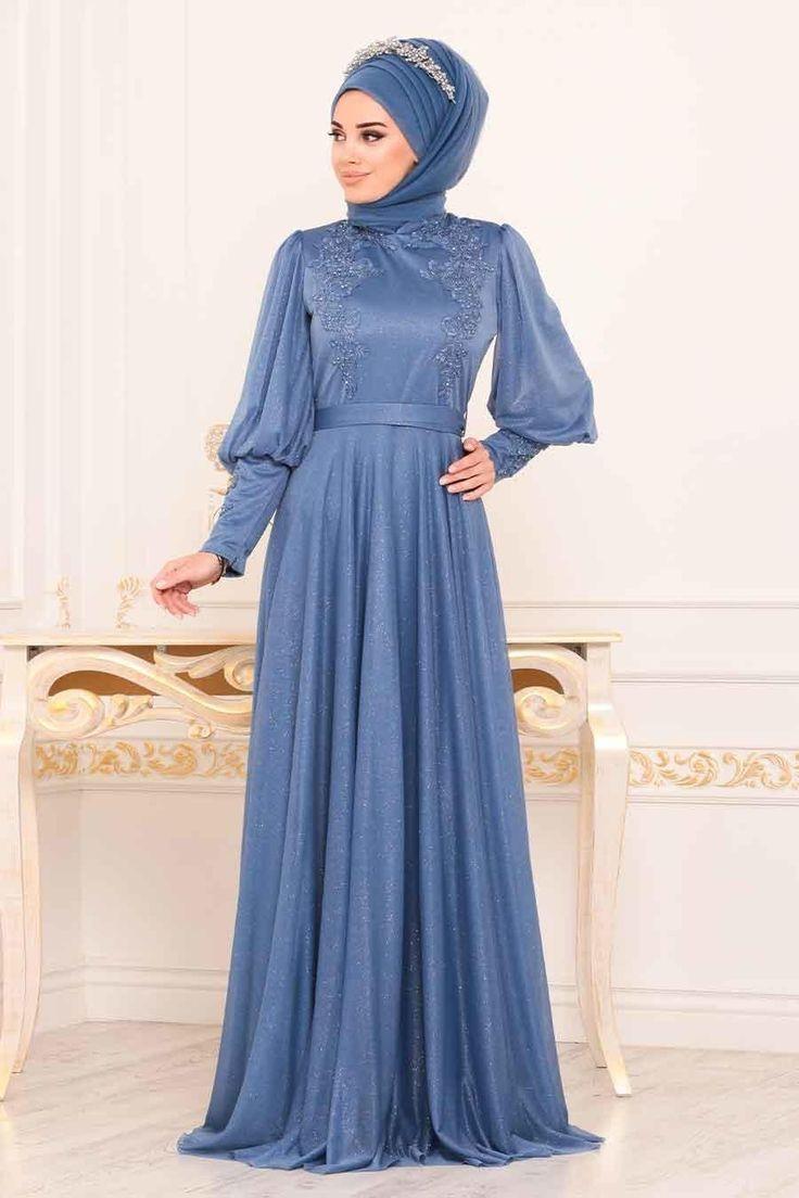 Tesetturlu Abiye Elbise Balon Kol Mavi Tesettur Abiye Elbise 39270m Tesettu Tesettur Abiye Modelleri 2020 Elbise Musluman Elbisesi Aksamustu Giysileri