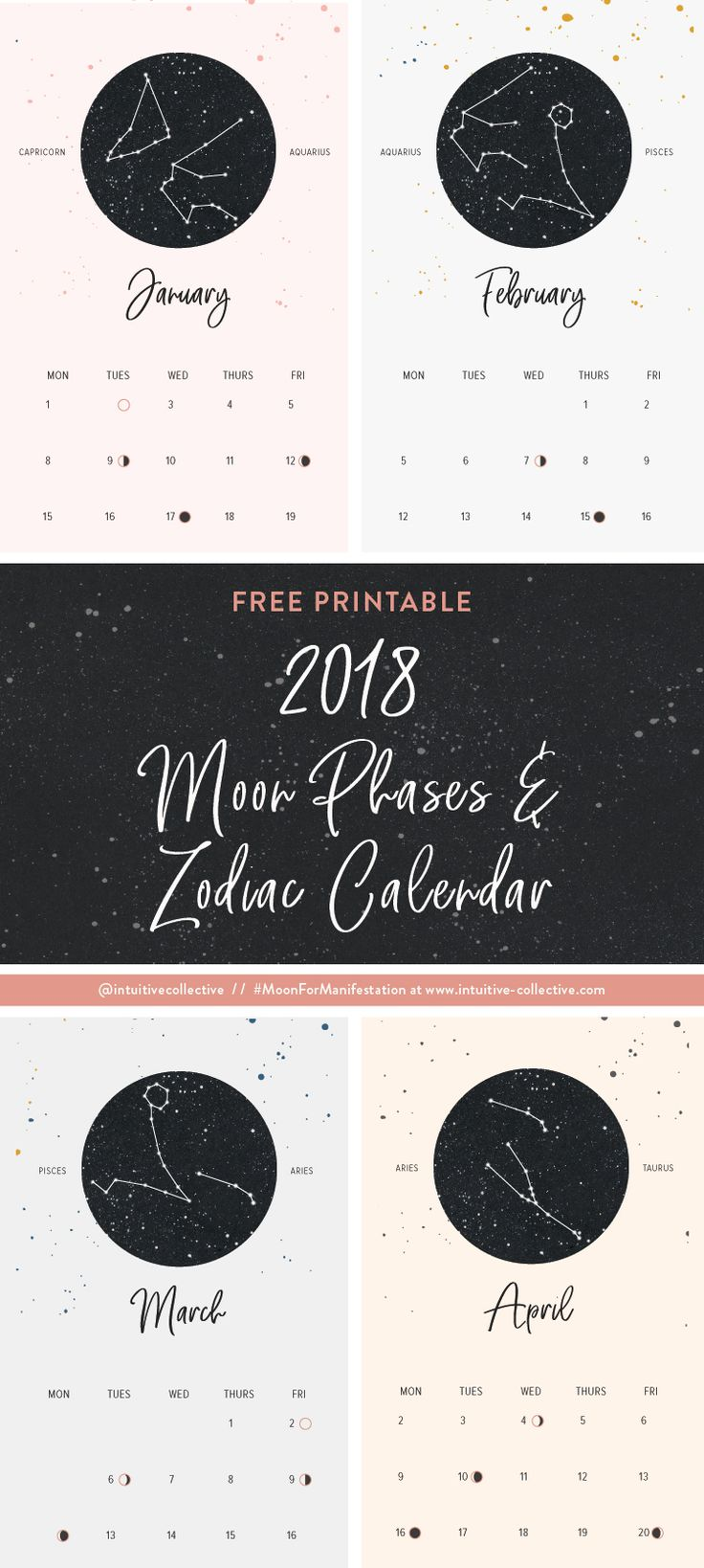 The New Moon brings energy of new beginnings and renewal. this FREE Full 2018 Printable Calendar with Moon Phases and Zodiac signs. Allow it to help get you in the state of mind to set those intentions and goals each month on the New Moon.