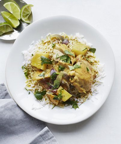 Slow-Cooker Chicken and Potato Curry | RealSimple.com / I nixed the chicken and used only 1/2 the amount of curry powder. Then I added in some broiled tofu for protein. 5 stars!