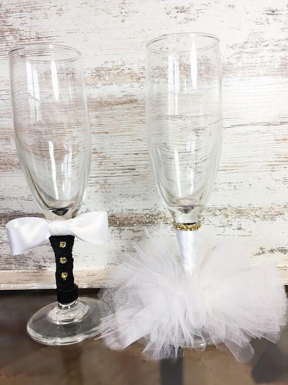 Bride and Groom Wedding Glasses/ Bride and Groom Toasting