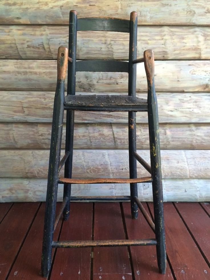 Aafa Early Primitive Antique Childrens Highchair With Early Black Paint