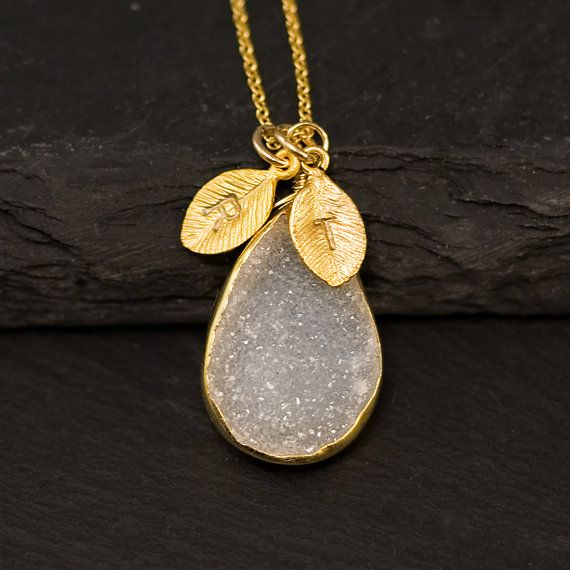 White Agate Druzy Necklace - Druzzy Personalized Necklace -  Drusy Personalized Jewelry - Custom Stamp Initials