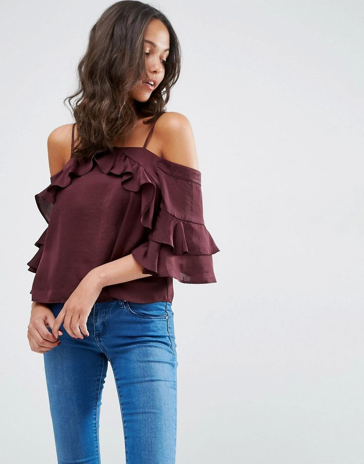 Image 1 ofASOS Cold Shoulder Top in Satin with Ruffle Sleeve