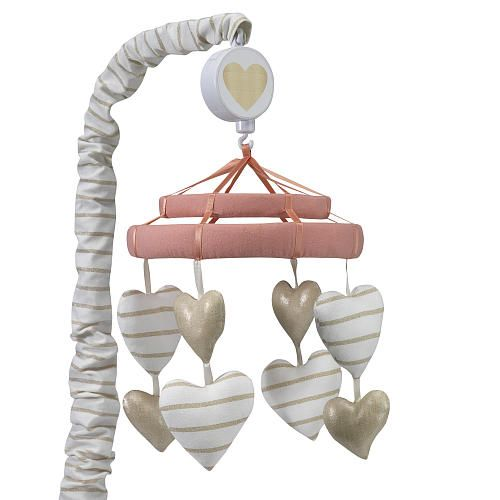 """Lambs & Ivy Dawn White/Gold Heart Musical Mobile - Lambs & Ivy - Babies """"R"""" Us"""