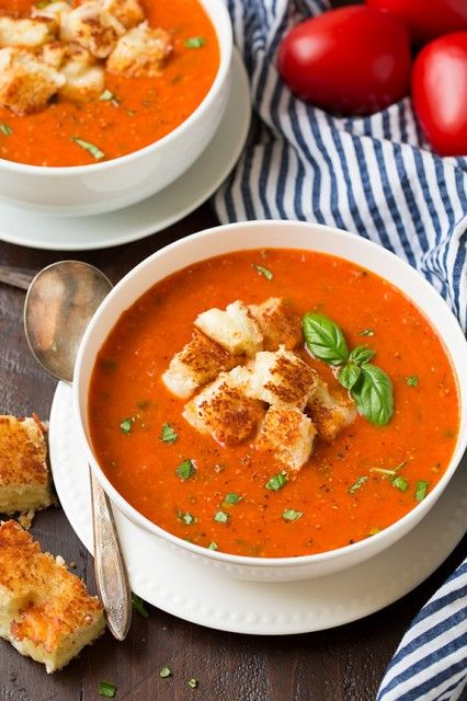 Roasted Tomato Basil Soup - maybe shredded cheese crisps instead of bread croutons