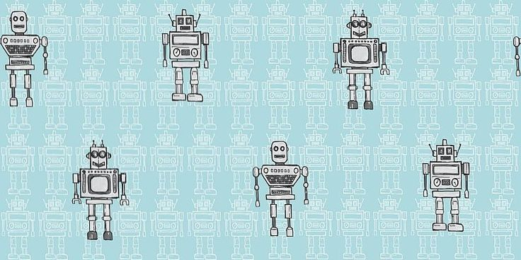 Retro Robot (534001) - Albany Wallpapers - A friendly robot motif design with an all over pattern, highlighted with individual characters. Shown in the grey on sky blue version. Other colourways available. Please request a sample for true colour match.