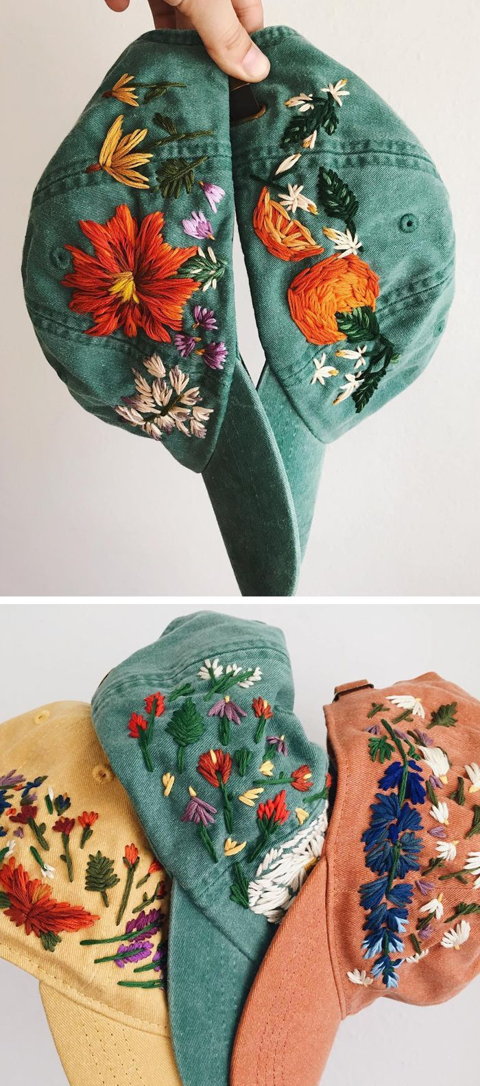ace3ea66ea4 Hand-Embroidered Hats Let You Root for Your Favorite Team... Flowers ...