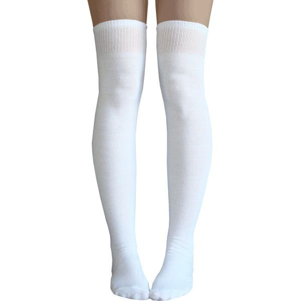 White Thigh Highs ❤ liked on Polyvore featuring intimates, hosiery, socks, white socks, thigh high hosiery, over the knee socks, long socks and above knee socks