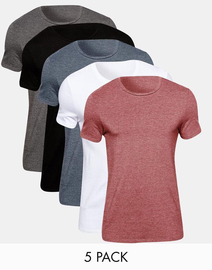 Muskelshirt T-Shirt im Set von ASOS elastischer Jersey Rundhalsausschnitt eng geschnittene Ärmel sitzt eng am Körper enge Passform Maschinenwäsche 94% Baumwolle, 6% Elastan Model trägt Größe M und ist 178 cm/5 Fuß 10 Zoll groß Fünferset