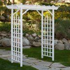 Dura-Trel Elmwood 7-ft. Vinyl Pergola Arbor - The Dura-Trel Elmwood 7-ft. Vinyl Pergola Arbor uses slim construction to serve as a skeleton for draping clematis or wisteria. The twisting vines will...